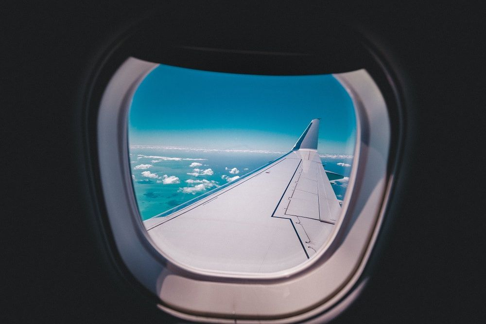 Picture of airplane window